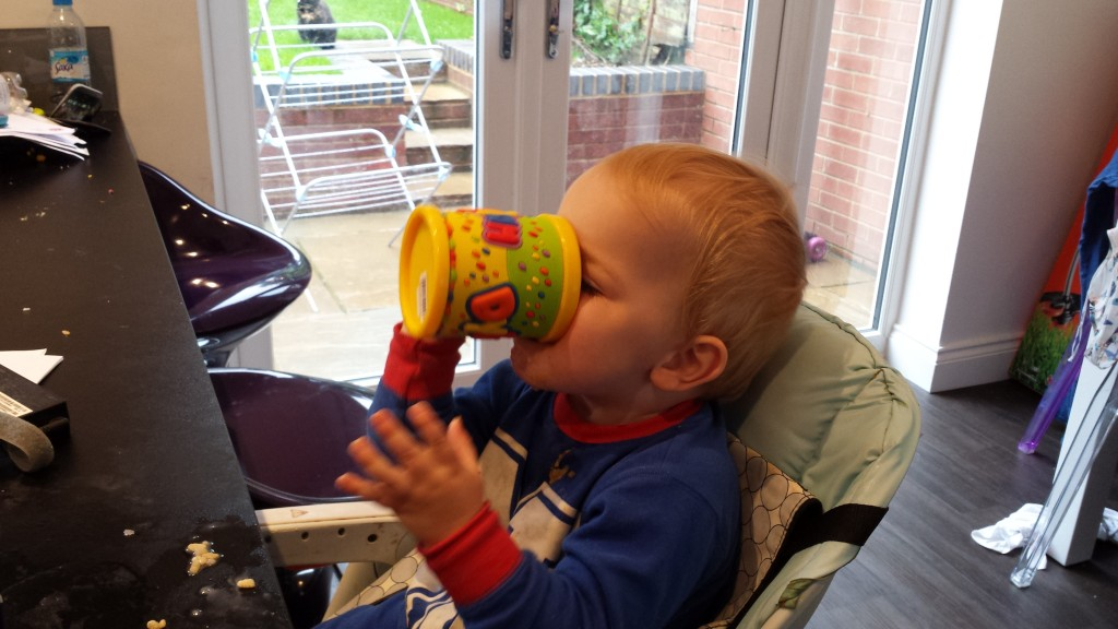 Child drinking by themselves