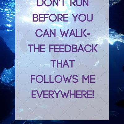 Don't Run Before You Can Walk- The Feedback that Follows me Everywhere!