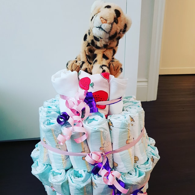 Making a nappy cake